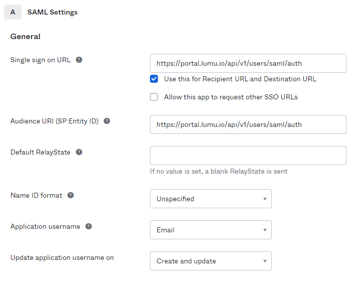 Configure the required values